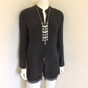 Escada Narala Black Silk Blouse Top NWOT DU36 US 6
